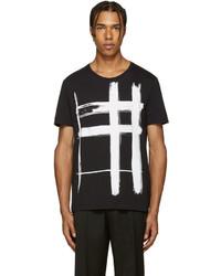 schwarzes bedrucktes T-Shirt mit einem Rundhalsausschnitt von Burberry