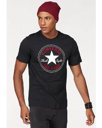 schwarzes bedrucktes T-Shirt mit einem Rundhalsausschnitt von Converse