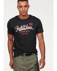 schwarzes bedrucktes T-Shirt mit einem Rundhalsausschnitt von Jack & Jones