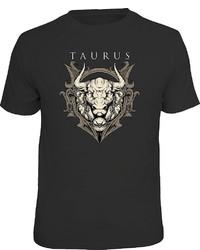 schwarzes bedrucktes T-Shirt mit einem Rundhalsausschnitt von LOBO NEGRO®