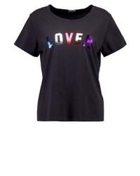 schwarzes bedrucktes T-Shirt mit einem Rundhalsausschnitt von Mother