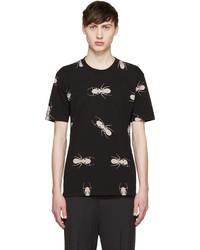 schwarzes bedrucktes T-Shirt mit einem Rundhalsausschnitt von Paul Smith