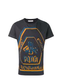 schwarzes bedrucktes T-Shirt mit einem Rundhalsausschnitt von Puma