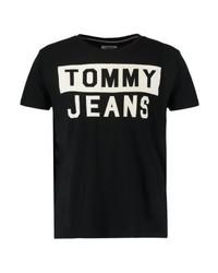schwarzes bedrucktes T-Shirt mit einem Rundhalsausschnitt von Tommy Hilfiger
