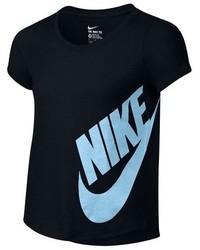 schwarzes bedrucktes T-shirt