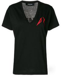 schwarzes bedrucktes T-shirt von Dsquared2