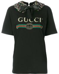 schwarzes bedrucktes T-shirt von Gucci