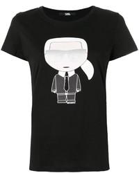 schwarzes bedrucktes T-shirt von Karl Lagerfeld