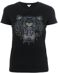 schwarzes bedrucktes T-shirt von Kenzo