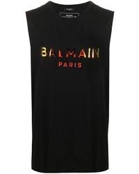 schwarzes bedrucktes Trägershirt von Balmain