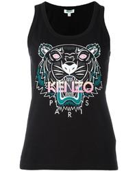 schwarzes bedrucktes Trägershirt von Kenzo