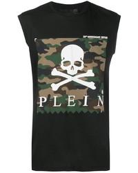 schwarzes bedrucktes Trägershirt von Philipp Plein
