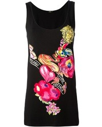 schwarzes bedrucktes Trägershirt von Versace