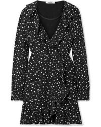 schwarzes bedrucktes Wickelkleid aus Seide von Miu Miu