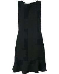 schwarzes bedrucktes Wollgerade geschnittenes kleid von Moschino