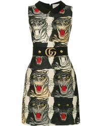 schwarzes bedrucktes Wollkleid von Gucci