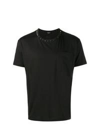 schwarzes beschlagenes T-Shirt mit einem Rundhalsausschnitt von Valentino