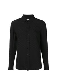 schwarzes besticktes Businesshemd von Saint Laurent