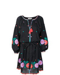 schwarzes besticktes Folklore Kleid
