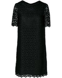 schwarzes besticktes gerade geschnittenes Kleid von Moschino