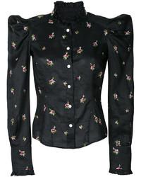schwarzes besticktes Hemd von Isabel Marant