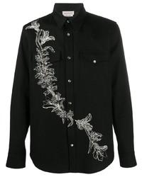 schwarzes besticktes Jeanshemd von Alexander McQueen