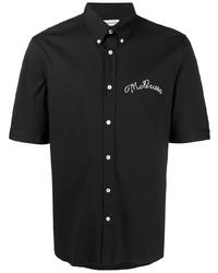 schwarzes besticktes Kurzarmhemd von Alexander McQueen