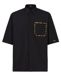 schwarzes besticktes Kurzarmhemd von Fendi