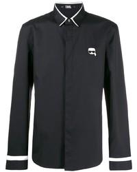 schwarzes besticktes Langarmhemd von Karl Lagerfeld