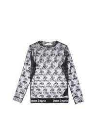 schwarzes besticktes Langarmshirt aus Netzstoff von Palm Angels