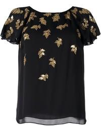 schwarzes besticktes Paillette T-shirt von Oscar de la Renta