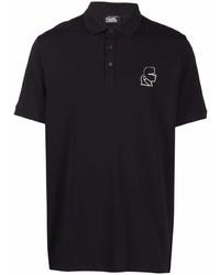 schwarzes besticktes Polohemd von Karl Lagerfeld