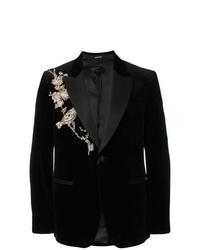schwarzes besticktes Sakko von Alexander McQueen