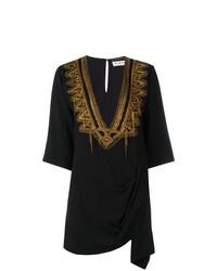 schwarzes besticktes Strandkleid von Saint Laurent