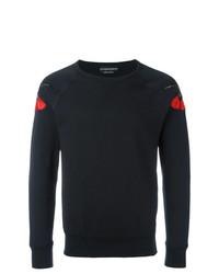 schwarzes besticktes Sweatshirt von Alexander McQueen