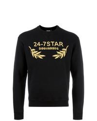 schwarzes besticktes Sweatshirt von DSQUARED2