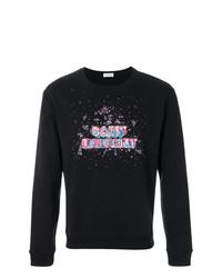 schwarzes besticktes Sweatshirt von Saint Laurent