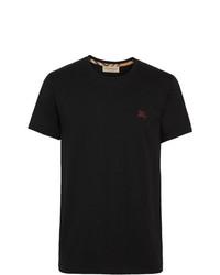 schwarzes besticktes T-Shirt mit einem Rundhalsausschnitt von Burberry