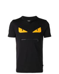schwarzes besticktes T-Shirt mit einem Rundhalsausschnitt von Fendi