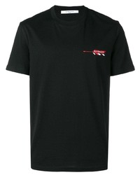 schwarzes besticktes T-Shirt mit einem Rundhalsausschnitt von Givenchy