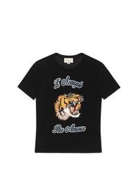 schwarzes besticktes T-Shirt mit einem Rundhalsausschnitt von Gucci