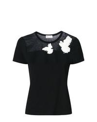 schwarzes besticktes T-Shirt mit einem Rundhalsausschnitt von RED Valentino