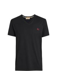 schwarzes besticktes T-Shirt mit einem V-Ausschnitt von Burberry