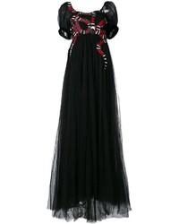 schwarzes besticktes Tüll Ballkleid von Gucci
