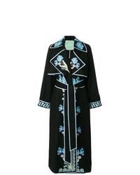 schwarzes besticktes Wickelkleid von Yuliya Magdych