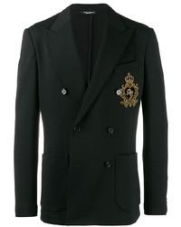 schwarzes besticktes Zweireiher-Sakko von Dolce & Gabbana