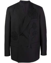 schwarzes besticktes Zweireiher-Sakko von Valentino