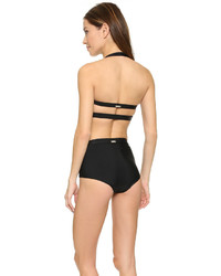 schwarzes Bikinioberteil mit Ausschnitten von VPL