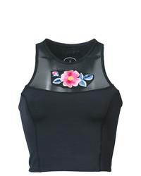 schwarzes Bikinioberteil mit Blumenmuster von Cynthia Rowley