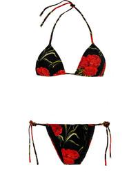 schwarzes Bikinioberteil mit Blumenmuster von Dolce & Gabbana